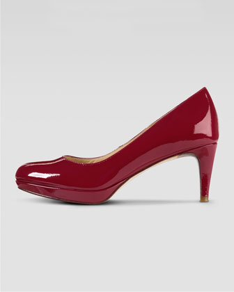 Chelsea Low-Heel Patent Platform Pump, Red