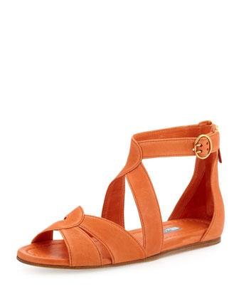 Napa Crisscross Ankle-Wrap Flat Sandal