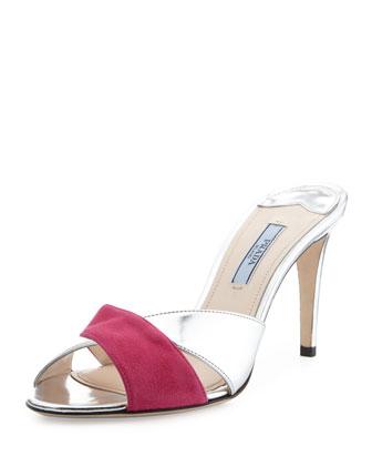 Suede Metallic Crisscross Side Sandal, Pink/Silver
