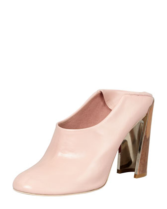 Wooden-Heel Convertible-Mule Pump, Rose