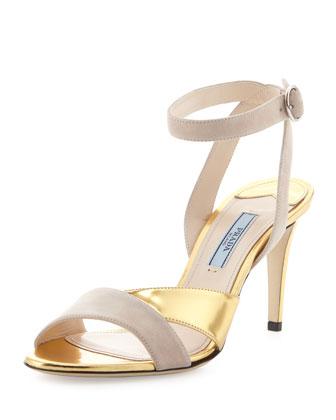 Bicolor Suede-Metallic Ankle-Wrap Sandal