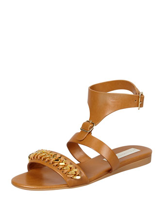 Removable-Cuff Flat Chain Sandal, Cognac