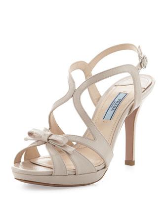 Vernice Saffiano Strappy Bow Sandal