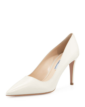 Patent Saffiano Point-Toe Pump, White