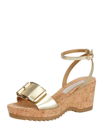Linda Ankle-Wrap Cork Wedge Heel, Gold