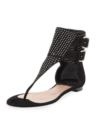 Rize Studded-Ankle-Cuff Thong Sandal