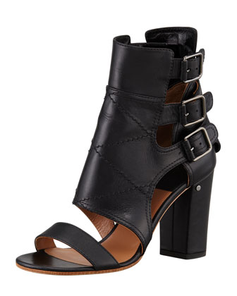 Felicite Open-Toe Buckle Bootie, Black