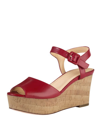 Gillian Mid-Heel Wedge Sandal, Tango Red