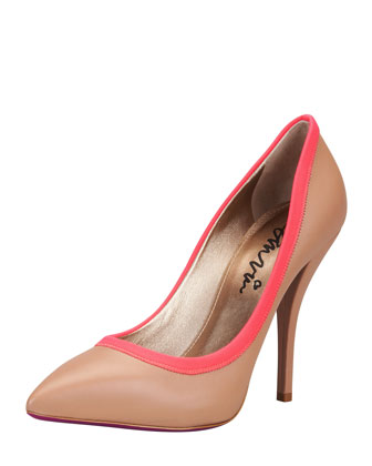 Grosgrain-Trim Pointy Pump, Tan/Red
