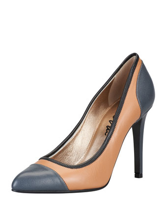 Colorblock Cap-Toe Pointy Pump, Steel/Tan