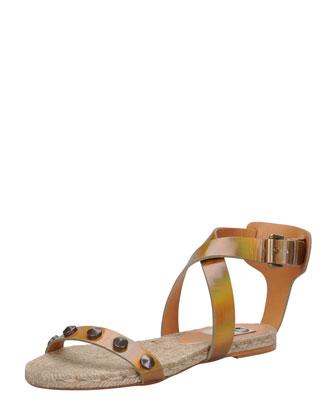 Studded Iridescent Espadrille Sandal, Bronze