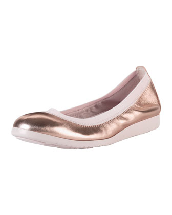 Gilmore Metallic Ballet Flat, Rose Gold