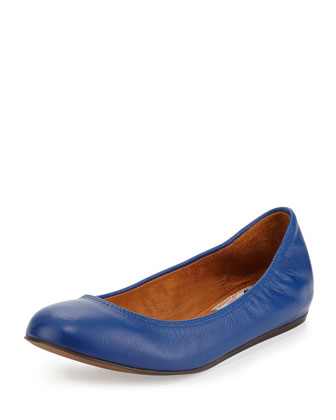 Scrunched Leather Ballerina Flat, Blue