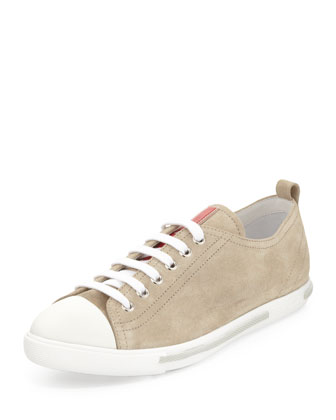 Suede Lace-Up Sneaker, Sand
