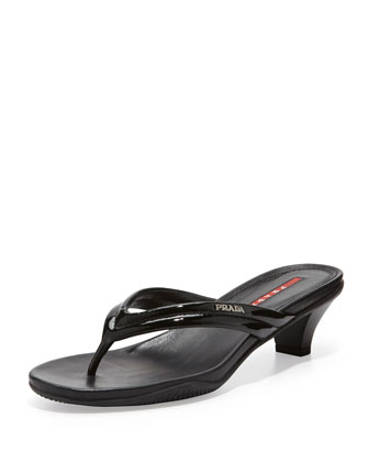 Patent Low-Heel Thong Sandal, Black
