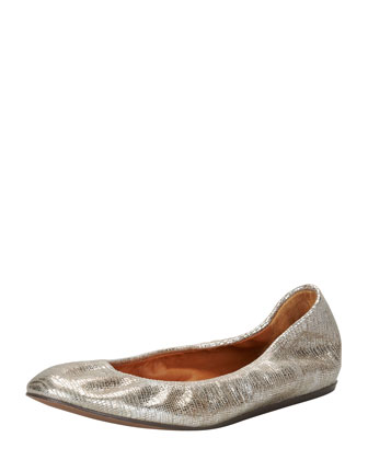 Metallic Leather Ballerina Flat, Platinum