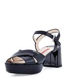 Patent Crisscross Sandal, Black