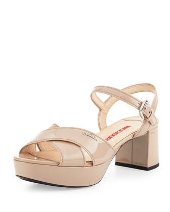 Patent Crisscross Sandal, Nude