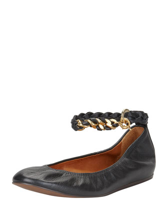 Chain-Strap Leather Ballerina Flat, Black