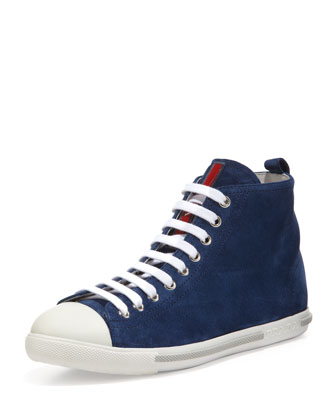 Suede Lace-Up High Top Sneaker, Dark Blue