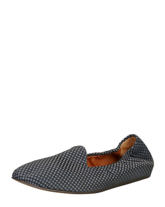 Medallion Jacquard Flat Loafer, Blue