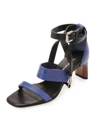 Lambskin Claw Ankle-Wrap Sandal, Black/Blue