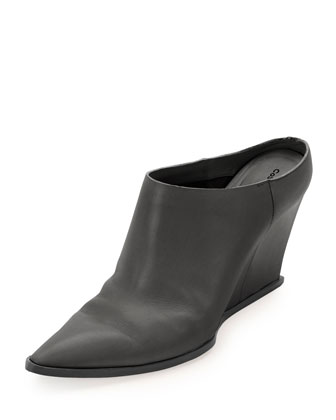 Calfskin Point-Toe Wedge Mule, Black
