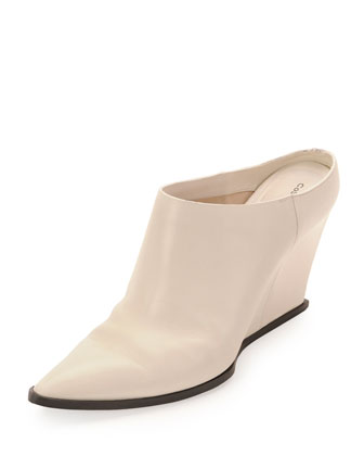 Calfskin Point-Toe Wedge Mule, White
