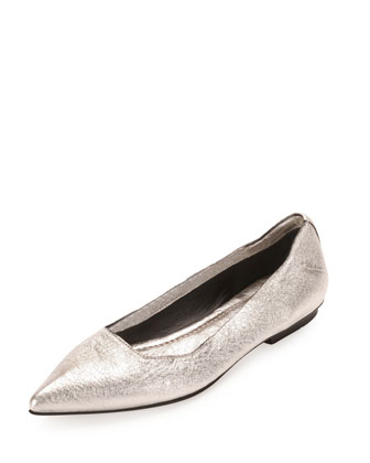 Metallic Point-Toe Ballerina Flat, Silver