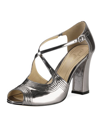 Jovie Metallic Leather Sandal, Armor