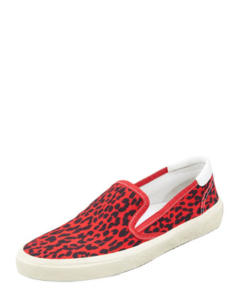 Leopard Canvas Slip-On Sneaker, Red