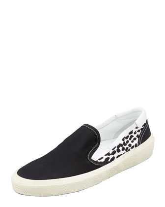 Solid/Leopard Canvas Slip-On Sneaker, Black/White