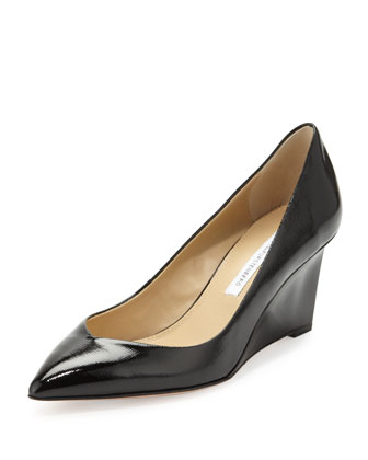 Park Pointy Patent Wedge Pump, Black