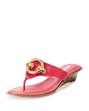 Tiles Ornament Demi-Wedge Thong Sandal, Raspberry
