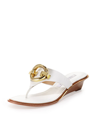 Tiles Ornament Demi-Wedge Thong Sandal, White