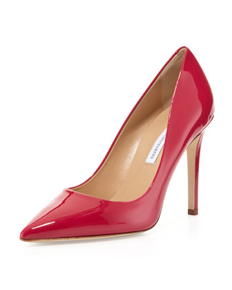 Bethany Point-Toe Patent Pump, Raspberry