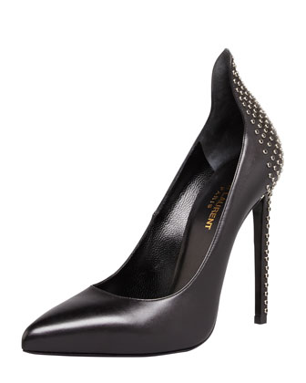 Paris Studded Peak Pointed-Toe Pump, Black