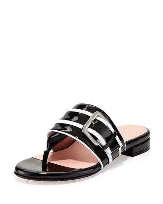 Ikia Patent Thong Sandal, Black