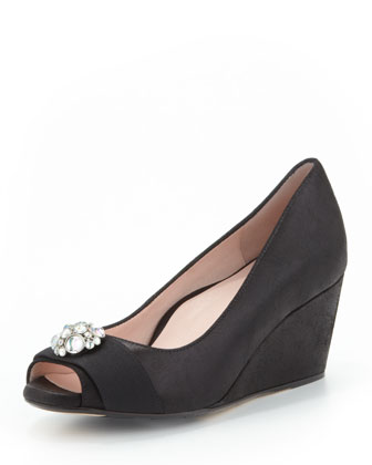 Kande Jeweled Peep-Toe Wedge, Black