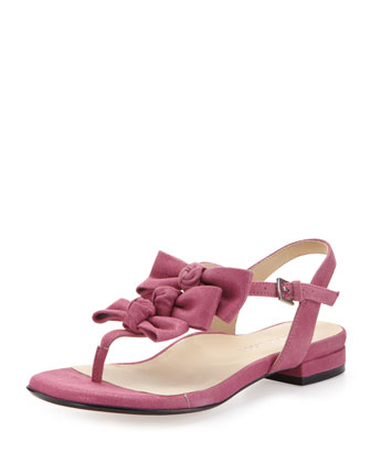 Iliana Suede Bow Thong Sandal, Magenta