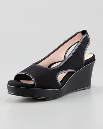 Sabriel Stretch Fabric Wedge, Black