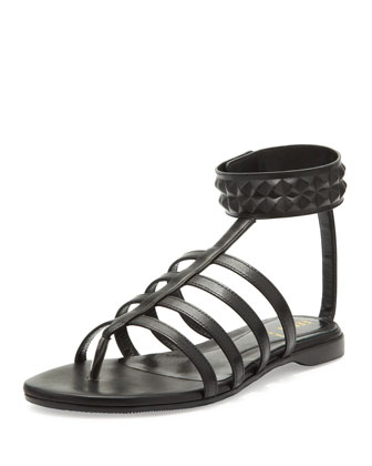 Studded Leather Cage Sandal, Black