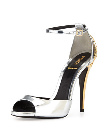 Metallic Honeycomb-Heel Sandal, Silver/Gold