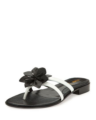 Lizard-Embossed Flower Thong Sandal, White/Black