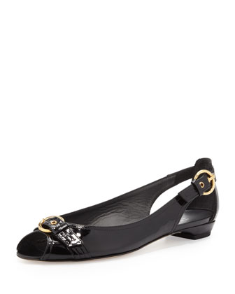 Chitchat Ballet Flat with Buckle, Black
