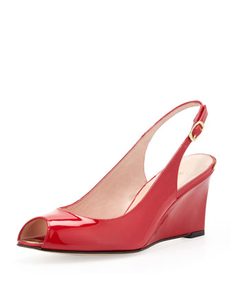 Decoslinky Slingback Peep-Toe Wedge, Raspberry