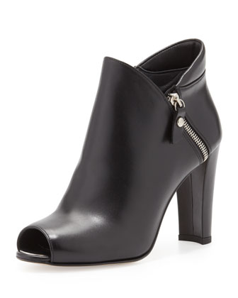 Jump Peep-Toe Ankle Boot, Black