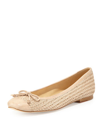 Stringtip Woven Leather Ballet Flat, Neutral