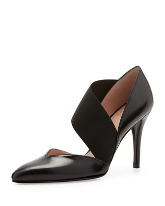 Turner Cross-Strap Leather Pump, Black