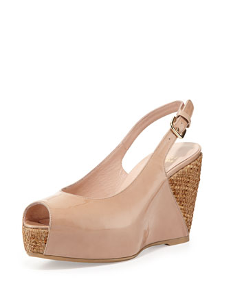 Topper Patent Wedge Sandal, Adobe